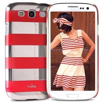 Custodia Puro Stripe per Samsung Galaxy S3 I9300 - Argento / Rosso
