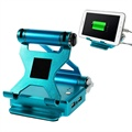 Universal Dual-USB Power Bank & Foldable Stand - Blue